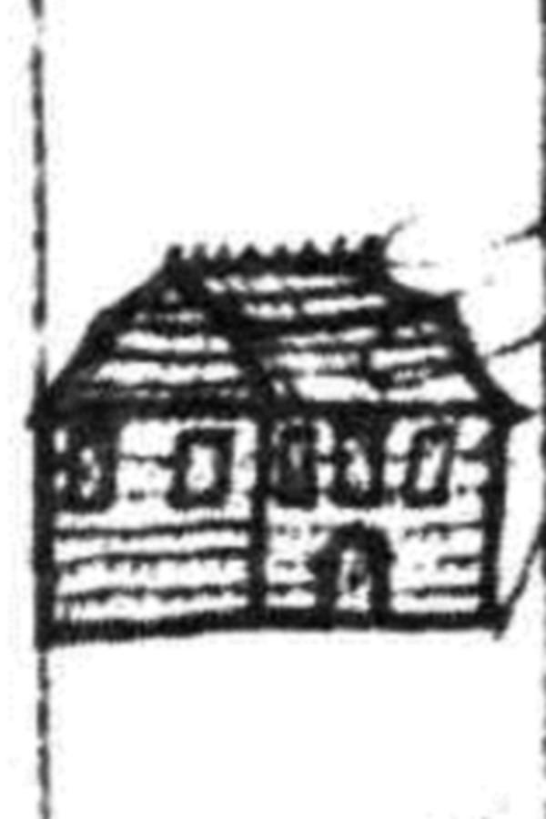 Схематичний малюнок давньої передміської синагоги, виконаний Мартином Груневегом.
