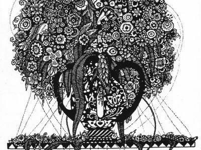 Павло Ковжун. Малюнок віньєтки «Натюрморт», 1921 р. (Павло Ковжун. Творча спадщина художника: матеріали, бібліографічний довідник / упоряд. І. Мельник, Р. Яців. – Львів, 2010)