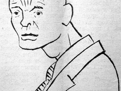Павло Ковжун. Рис. Едварда Козака (Козак Е. Дещо про нашу карикатуру // Назустріч. – 1934. – Ч. 14)