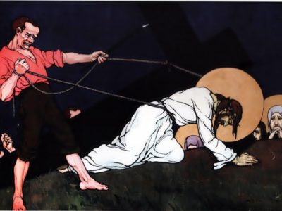 """Олена Кульчицька. Христос паде під тягарем хреста . Із циклу """"Страсті Христові"""". 1915 р."""