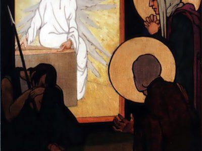 """Олена Кульчицька. Мироносиці і ангел біля гробу Христа. Із циклу """"Страсті Христові"""". 1915 р."""