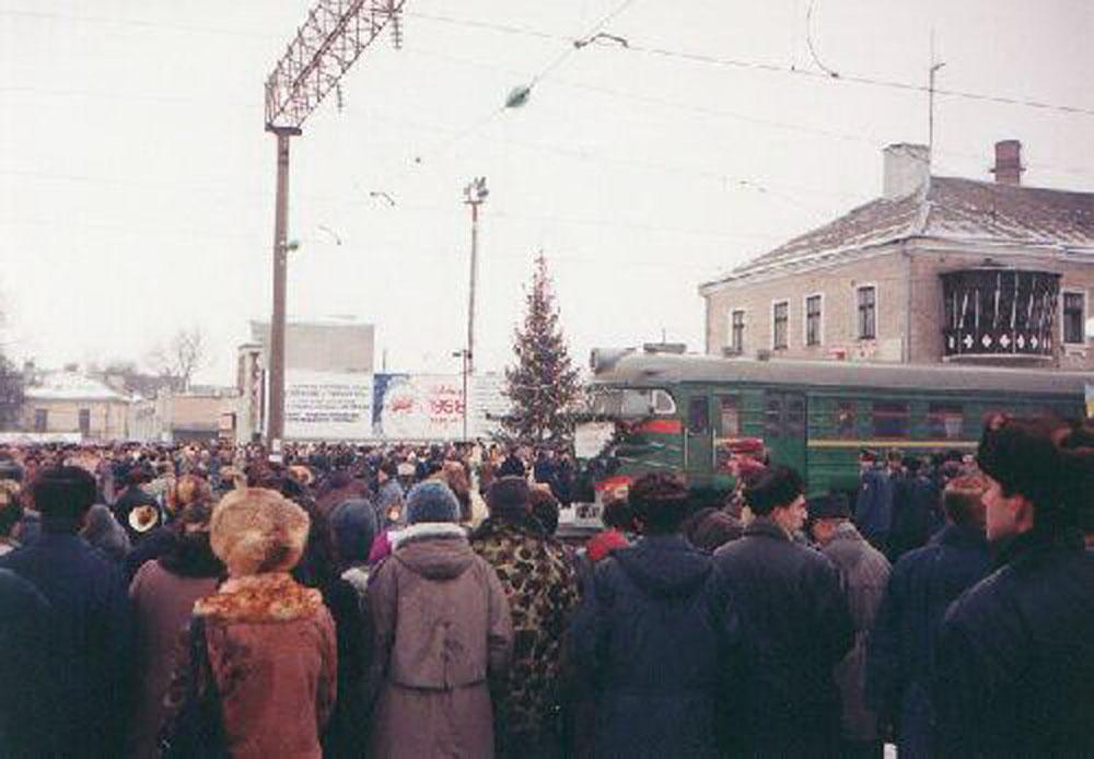 Прибуття першого електропоїзда у Тернопіль. 1997 р.