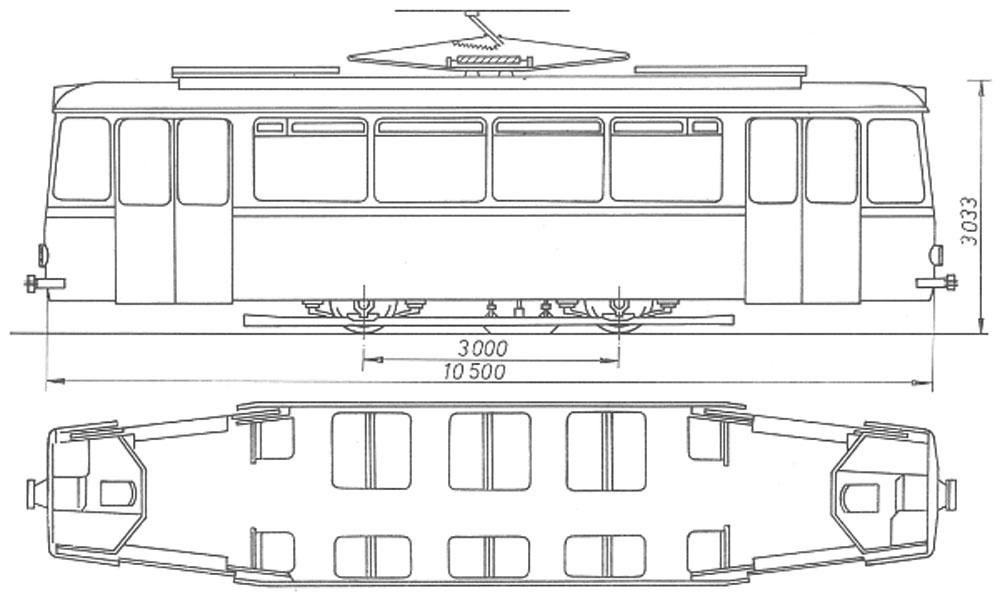 Габаритне креслення моторного трамвая «LOWA ЕТ54»