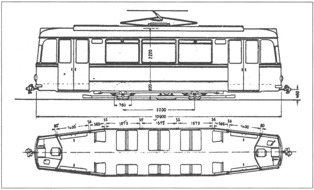 Габаритне креслення трамвайного вагона «Gotha T57». Трамвайний вагон «Gotha T59E» мав аналогічну компоновку салону (розстановку крісел), але не мав дверей по лівій стороні кузова і заднього пульта керування
