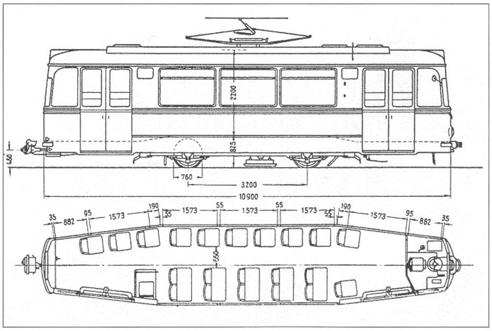 Габаритне креслення трамвайного вагона «Gotha Т2-62»