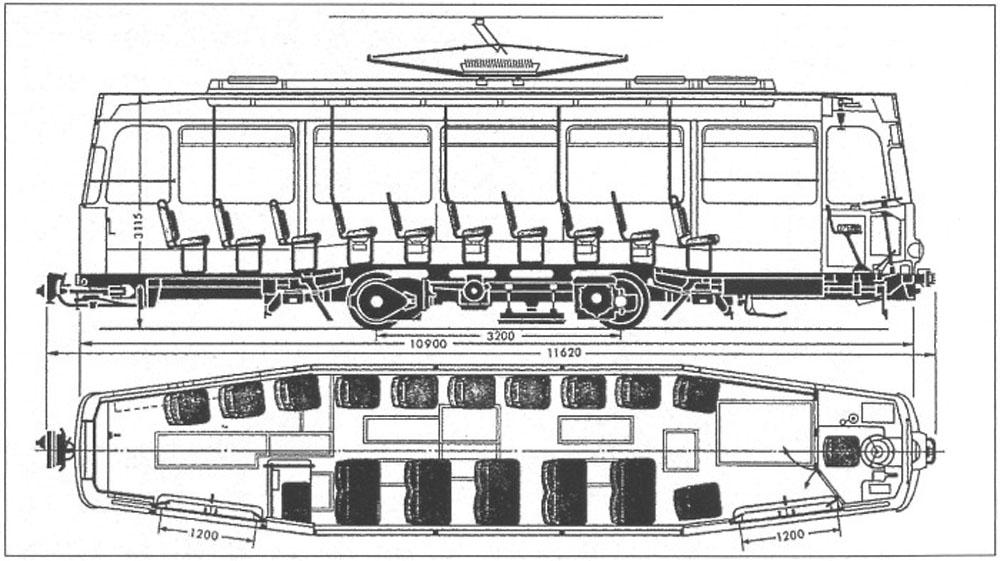 Габаритне креслення трамвайного вагона «Gotha Т2-62» із розстановкою крісел у салоні вагона