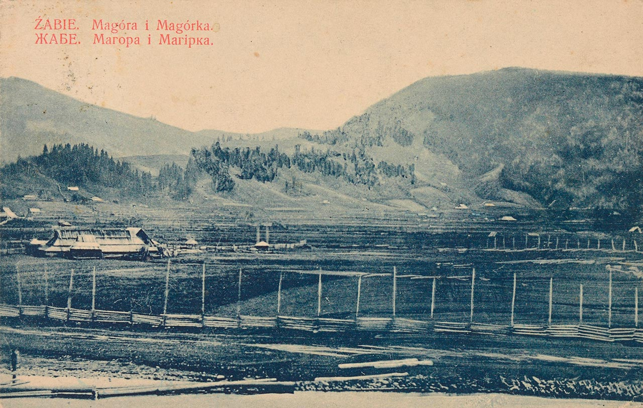 Жаб'є, вид на гори Магура і Магурка. Листівка, після 1906р. Джерело: https://polona.pl/item/zabie-magora-i-magorka-zabe-magora-i-magirka