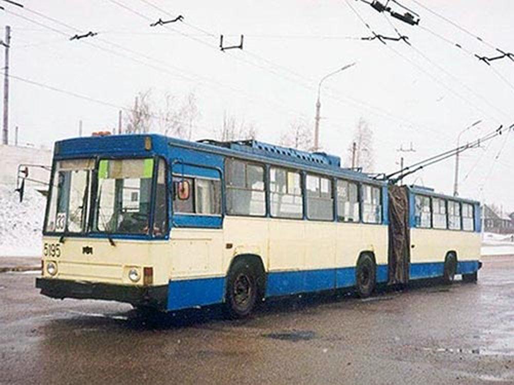 Зічленований тролейбус «Київ-11» – спільна розробка Науково-дослідного і конструкторсько-технологічного інституту міського господарства та Київського заводу електротранспорту. 1991 р.