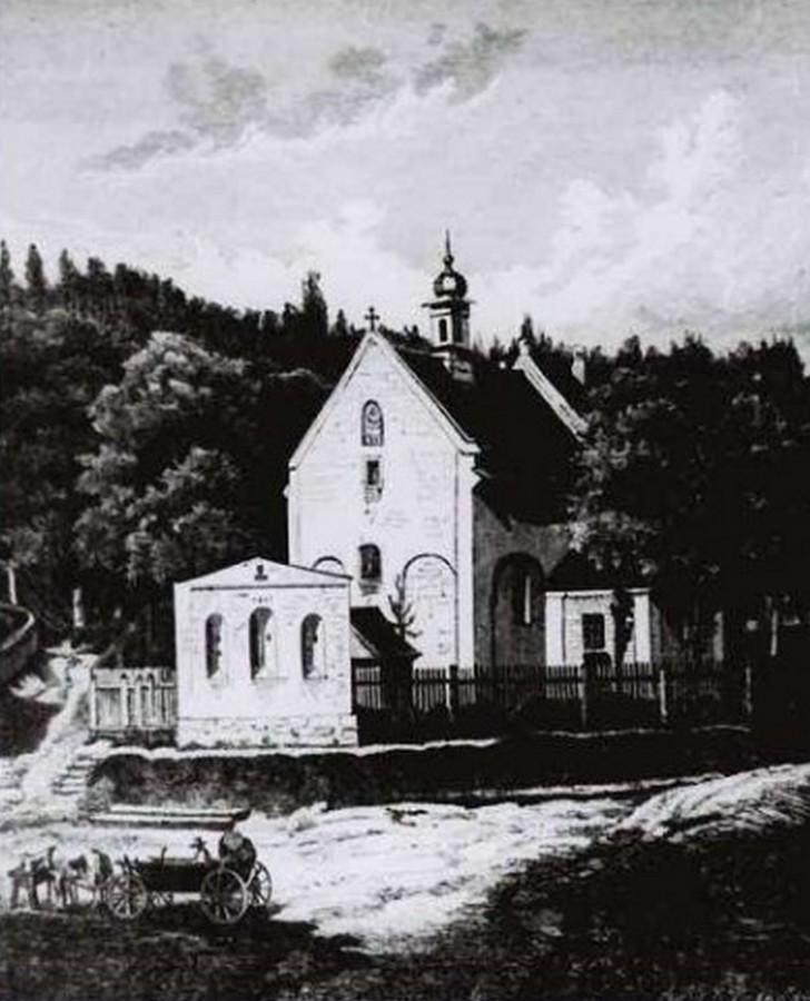 Зображення костелу Хрестителя, пер. пол. XIX століття
