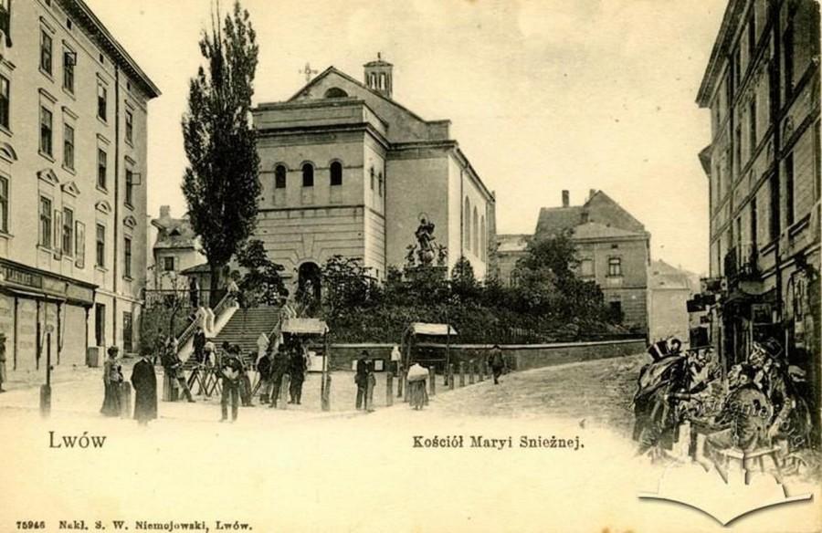 Костел Марії Сніжної на поч. XX ст., поштівка