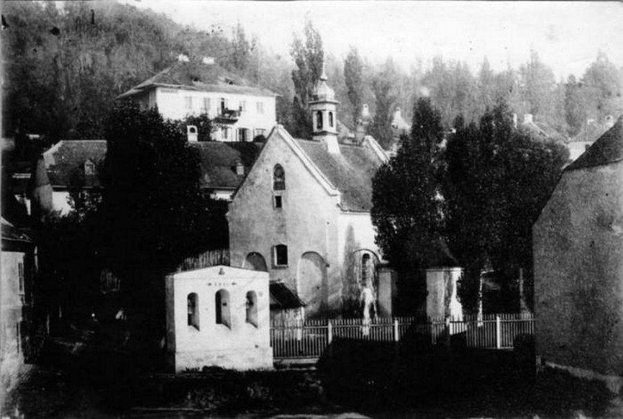Вигляд костелу у сер. XIX ст. Фото Юзефа Едера.