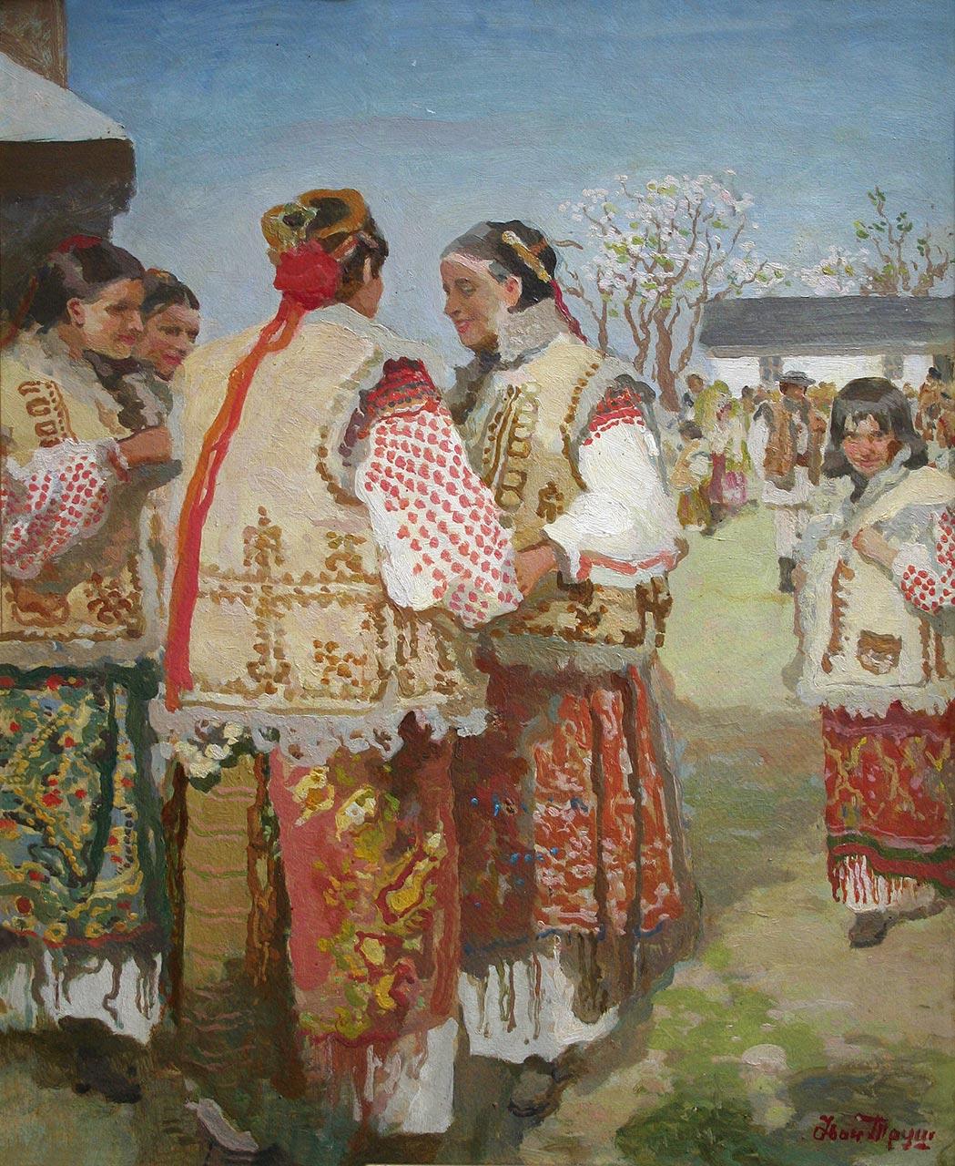 Іван Труш. Гуцулки біля церкви. 1920-ті рр. Картон, олія